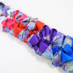 "5"" Gator Clip Fashion Bows 2 Layer Solid/Metallic Prints .54 ea"