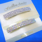 """2.75"""" Silver Hair Barrettes w/ 3 Line Clear & AB Crystal Stones .54 ea"""