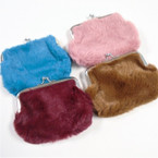 "4.5"" Faux Fur Snap Closure Coin Purses Mixed Colors  .58 ea"