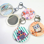 "3"" Owl Theme DBL Mirror Compact w/ Clip & Keychain  .56 each"