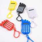 "2.5"" Asst Color Clip On Calculators  Foot Print Theme 12 per pk  .62 each"