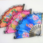 "9"" Black Frame Flower Pattern Lace Fashion Hand Fans .56 each"