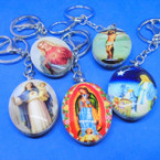 DBL Sided Religious Picture Keychains & Clip .54 ea