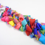 "5"" Gator Clip Bows w/ 2 layer Solid & Rainbow Lace  .54 ea"
