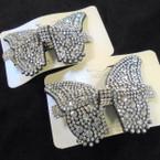 """3"""" Butterfly Barrette w/ Clear Crystal Stones .54 ea"""