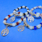 Frosted & Crystal Bead Fashion Bracelets w/ Silver Tree of Life Charm .54 ea