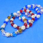 Crystal & Fire Ball Bead Fashion Bracelets Asst Colors  .54 ea