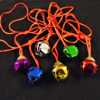 Red Silk Cord Christmas Necklaces w/ Jingle Bell 6 colors 12 per pk  .45 each