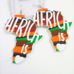 "NEW 3""  Africa Is LOVE Map Earrings Colorful  .54 ea"