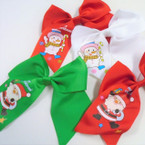 "6"" X 6"" Tail Gator Clip Bow Christmas Imprint 3 colors .54 each"