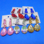 "2"" Classy Shiney Gem Stone Color Fashion Earrings .54 ea"