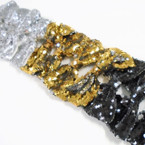 "5.5"" Sequin Gator Clip Fashion Bows Gold,Silver,Black .54 ea"