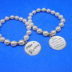 Mom's Blessing Pearl Stretch Bracelets w/ Charm .60 each