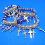 10MM Crystal Stone & Gold Bead Bracelets w/ Gold Cross Charms  .60 each