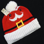 SPECIAL Holiday Santa Face Theme Winter Knit Caps w/ Pom Pom $ 1.75 each