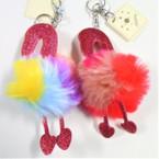 "5"" Faux Fur Glitter Hot Pink Flamingo Keychain w/ Clip .58 ea"