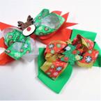 "5"" Layered Christmas Gator Clip Bows w/ Reindeer & Tree .54 ea"