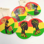 "2.75"" 3 Style Rasta Color Theme Fashion Lady Earrings .54 each"