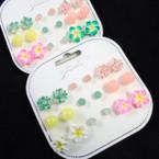 Value Pack 9 Pair Flower & Light Color Stud Earrings .54 per set