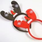 2 Color Reindeer Novelty Christmas Headbands w/ Mini Santa Hat .56 ea