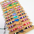 Multi Color Bead Unicorn Theme Cord Bracelets 12 per card  .54 ea