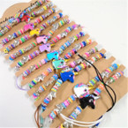 Multi Color Bead Unicorn Theme Cord Bracelets 12 per card  .56 each