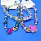 Mixed Color Beaded Fashion Bracelets w/ Crystals & Unicorn  .54 ea