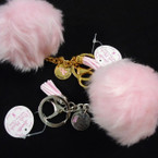 "3"" Faux Fur Pom Pom All Pink Keychains w/ Ribbon Charm 24 per pack .90 ea"