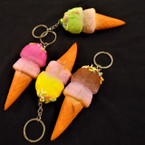 "3.5"" Squishy Scented Ice Cream Cone w/ Sprinkles Keychains .60 each"