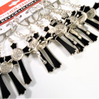 "3"" Black & Silver Crucifix Metal Two Sided Keychains  .56 each"