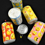 "3.25"" Tall Soda Can Look EMOJI Theme Keychain  w/ Wet Wipes   .62 each"