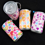 "3.25"" Tall Soda Can Hearts & Flower Theme Keychain  w/ Wet Wipes   .62 each"