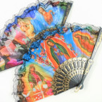 "9"" Guadalupe Theme Picture Lace Fans w/ Black Handle 12 per pk .54 each"