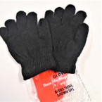All Black Kid's Size Magic Knit Gloves 12 pairs per pk .40 ea pair