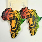 "3"" Rasta Color Roaring Lion Wood Earrings on Africa Map .54 ea"
