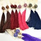 "4"" Fashionable Tassel Earrings w/ Sparkle Ball .56 each"