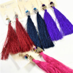 "4"" Fashionable Tassel Earrings w/ Cry. Bead Top .56 each"