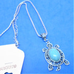 All Silver Chain Necklace w/ Turtle Pendant w/ Turquoise Stones .56 each