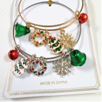 Adjustable Gold & Silver Wire Christmas Charm Bracelets (51) .54 each