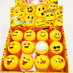 All Yellow Emoji Theme Roll On Ball Fruit Lip Balm 24 per display .60 ea
