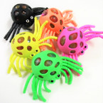 "5"" Super Squishy Spiders w/ Multi Color Beads 12 per display bx .65 ea"