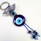 Glass Evil Eye Keychain w/ Silver Love Angel Wings 12 per pk  .54 ea