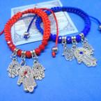 Handmade Red/Blue Macrame Bracelets w/ Silver Hamsa Charms  .54 ea