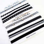 SPECIAL 4 Pack Fashion Choker Sets All Black (97)   .58 per set
