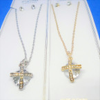 Gold & Silver Chain Necklace w/ Clear Crystal w/ Cross .56 ea set