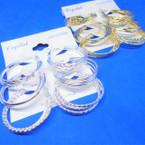 """3 Pack 1""""Gold & Silver Fancy Pattern Hoop Earrings .54 per set"""