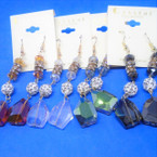 "2.5"" Fashion Earrings Loaded w/ Crystals  Asst Colors .54 ea"