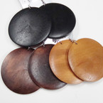 """2.5"""" Round Wood Fashion Earrings Blk & Browns .54 ea"""