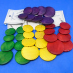 "Asst Bright Colors 3.5""  Wood 4 Part  Fashion Earrings .54 each"