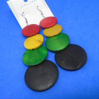"3.75"" Rasta Color Mixed Wood Fashion Earrings .54 each"